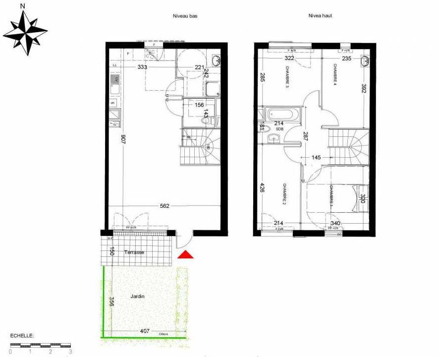 Plan 5005, appartement neuf type T5 au Rez de chaussée, orienté Ouest faisant 95m² du programme neuf LES COTTAGES D'AMILLY MAISONS à Serris.
