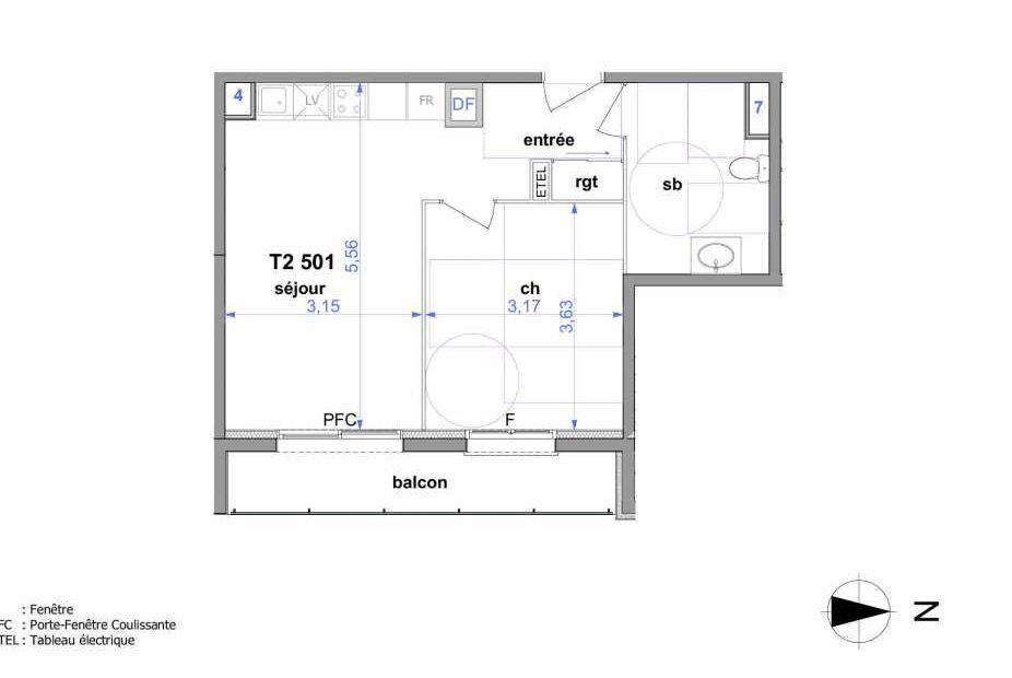 Plan 501, appartement neuf type T2 au 5ème étage, orienté Est faisant 41m² du programme neuf Au fil de l'O1 à Maromme.
