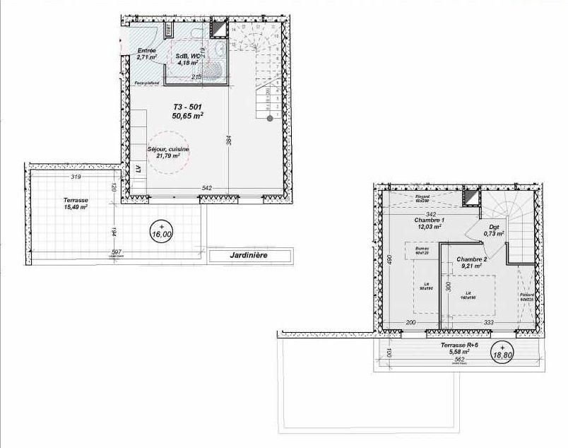 Plan 501, appartement neuf type T3 au 5ème étage, orienté Sud faisant 51m² du programme neuf Le Dôme à Marseille.