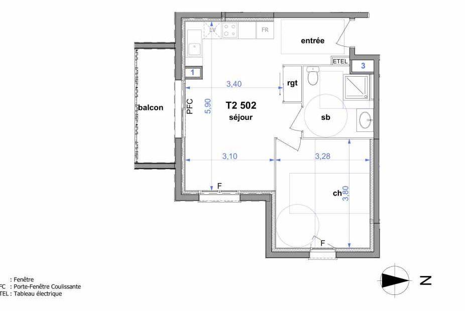 Plan 502, appartement neuf type T2 au 3ème étage, orienté Sud faisant 43m² du programme neuf Au fil de l'O1 à Maromme.