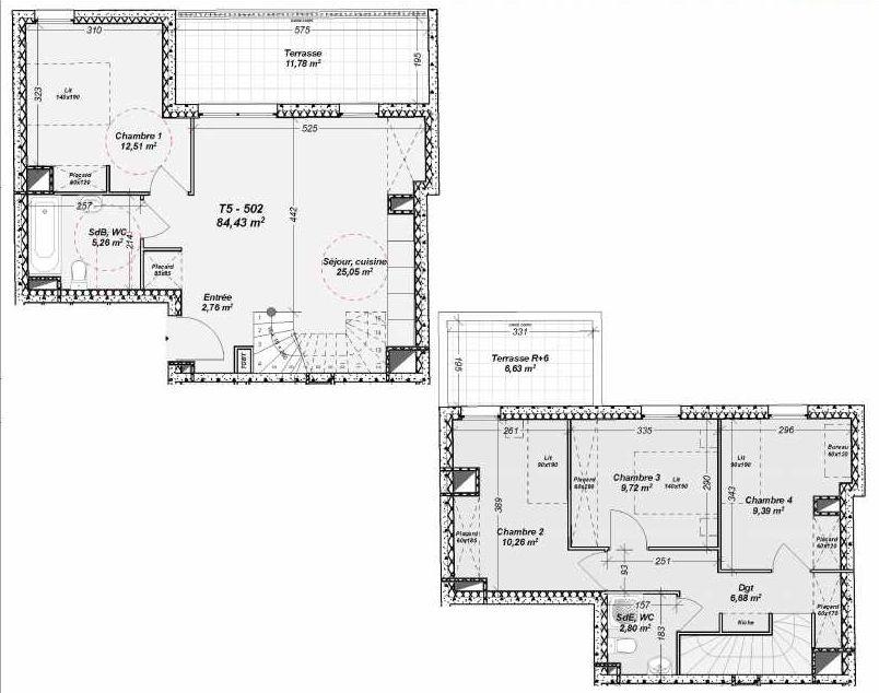 Plan 502, appartement neuf type T5 au 5ème étage, orienté Nord faisant 84m² du programme neuf Le Dôme à Marseille.