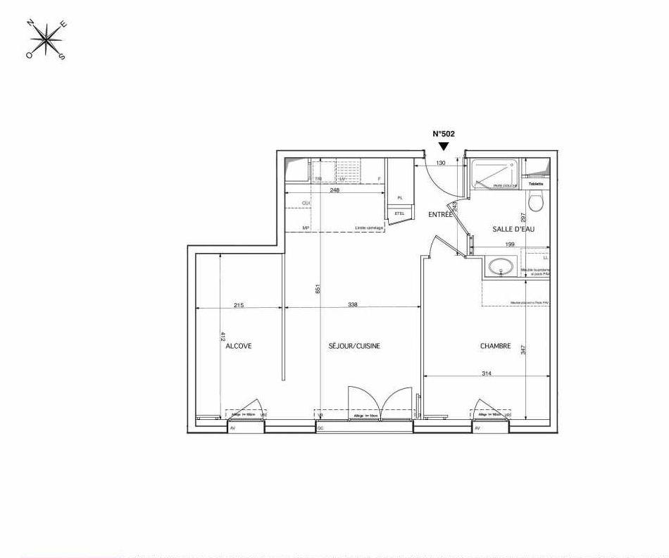 Plan 502, appartement neuf type T2 au 5ème étage, orienté Sud faisant 50m² du programme neuf Westmont à Rueil-Malmaison.