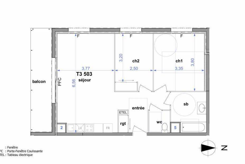 Plan 503, appartement neuf type T3 au 5ème étage, orienté Sud faisant 62m² du programme neuf Au fil de l'O1 à Maromme.