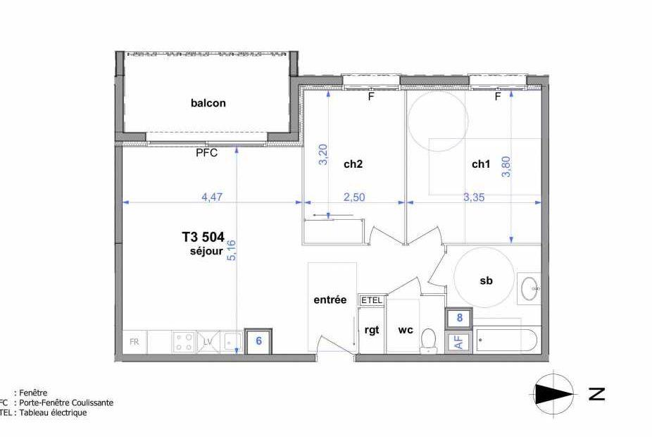 Plan 504, appartement neuf type T3 au 5ème étage, orienté Ouest faisant 60m² du programme neuf Au fil de l'O1 à Maromme.
