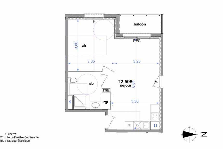 Plan 505, appartement neuf type T2 au 5ème étage, orienté Ouest faisant 43m² du programme neuf Au fil de l'O1 à Maromme.