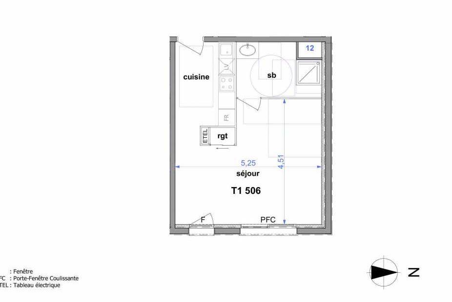 Plan 506, appartement neuf type T1 au 5ème étage, orienté Est faisant 33m² du programme neuf Au fil de l'O1 à Maromme.