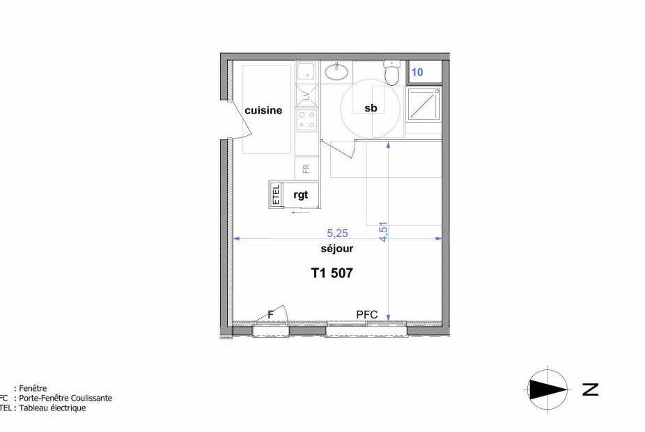 Plan 507, appartement neuf type T1 au 5ème étage, orienté Est faisant 33m² du programme neuf Au fil de l'O1 à Maromme.