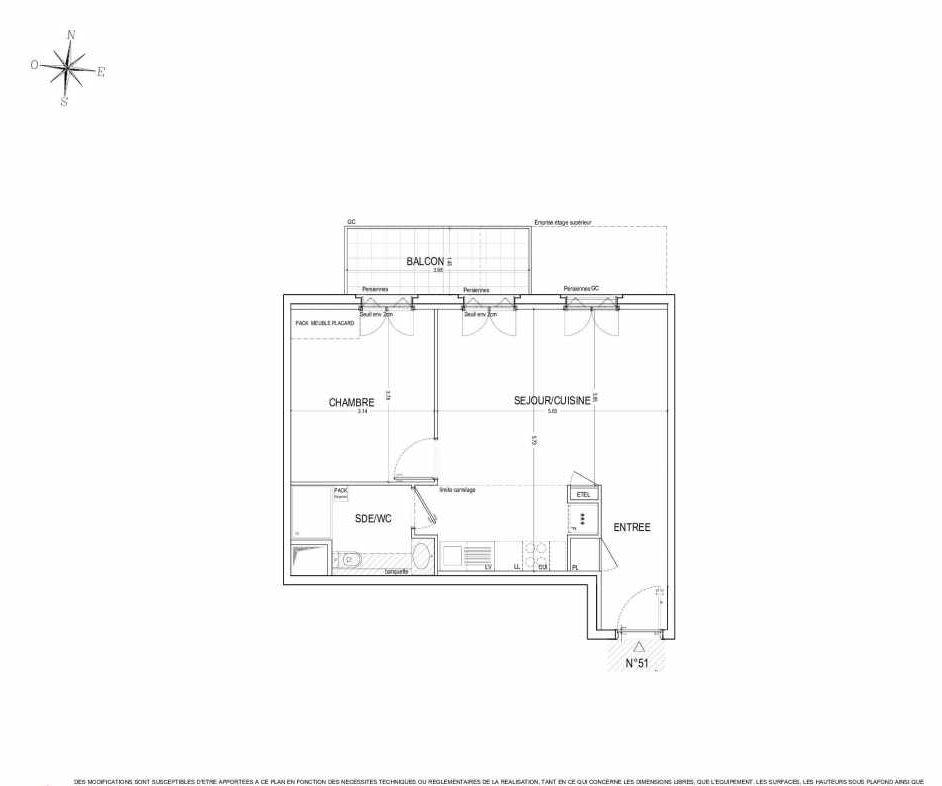 Plan 51, appartement neuf type T2 au 5ème étage, orienté Nord faisant 48m² du programme neuf ALLURE à Nantes.
