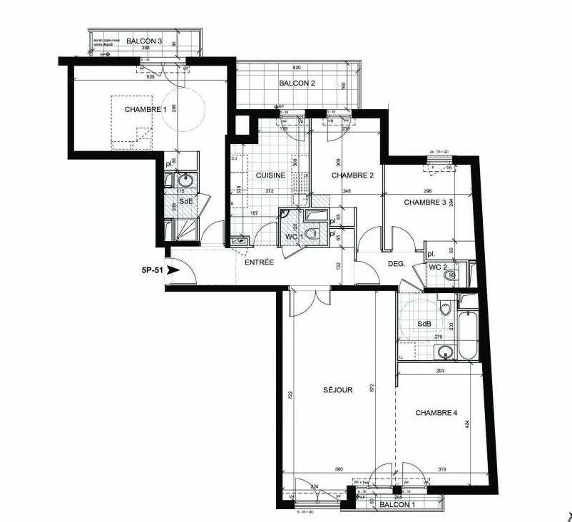 Plan 51, appartement neuf type T5 au 5ème étage, faisant 110m² du programme neuf BOULOGNE CONFIDENTIEL à Boulogne-Billancourt.