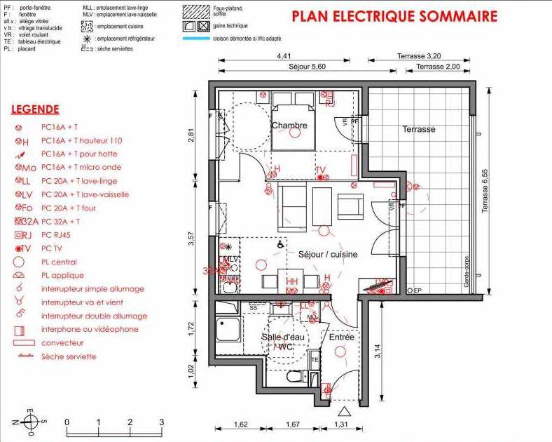 Plan 5104, appartement neuf type T2 au 1er étage, orienté Est faisant 43m² du programme neuf LIGNE BLEUE BATS C-D-E-F à Marseille.