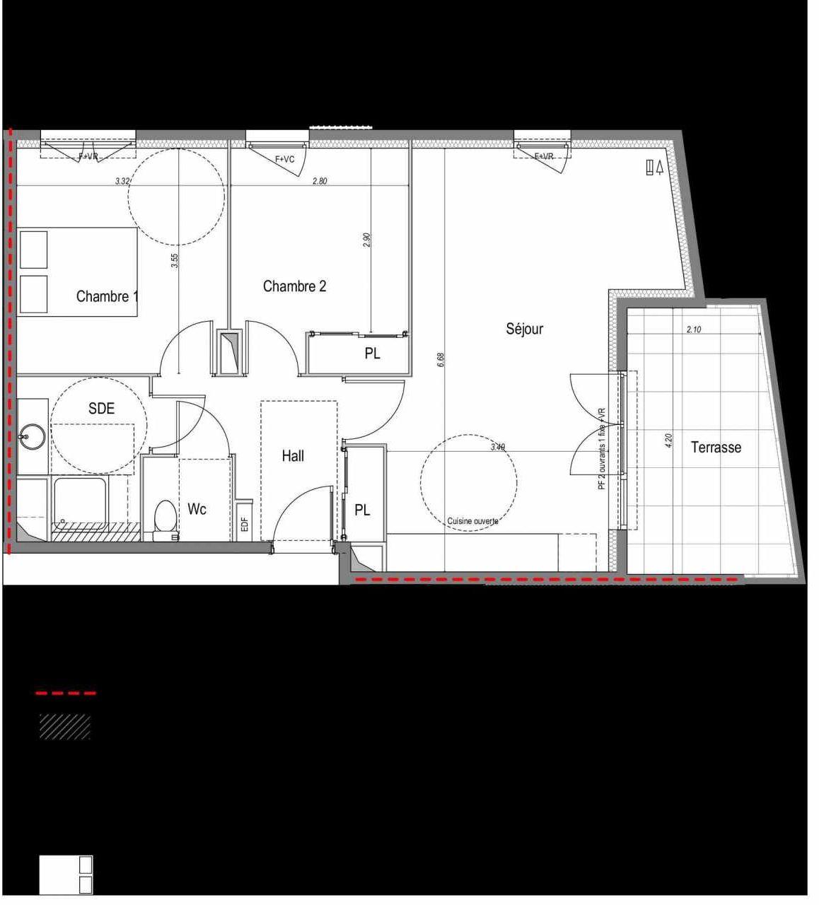 Plan 512, appartement neuf type T3 au 1er étage, orienté Est faisant 60m² du programme neuf SAINT MARTIN DU VAR à Saint-Martin-du-Var.