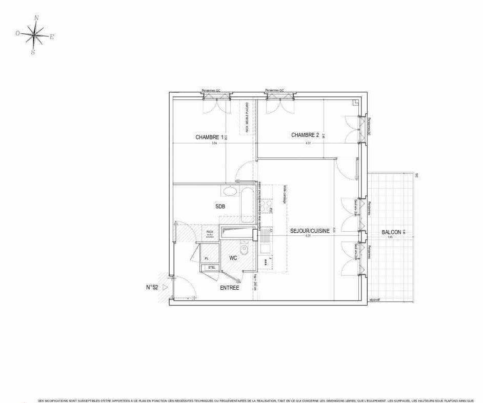 Plan 52, appartement neuf type T3 au 5ème étage, orienté Est faisant 65m² du programme neuf ALLURE à Nantes.