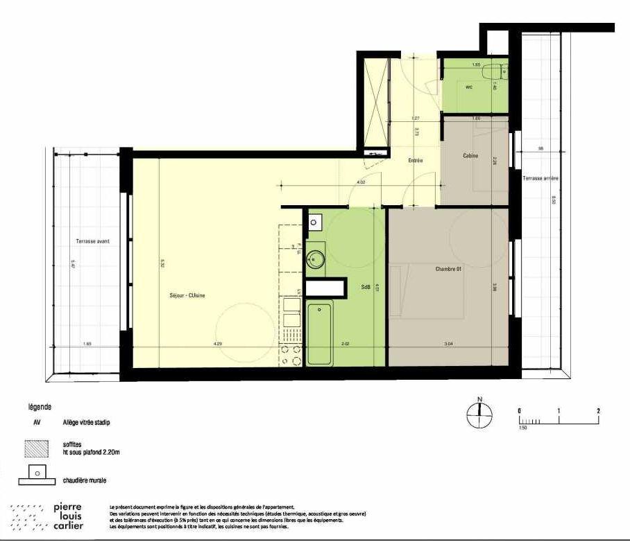 Plan 52, appartement neuf type T2 au 5ème étage, orienté Ouest faisant 57m² du programme neuf RESIDENCE JULIA à Neufchâtel-Hardelot.