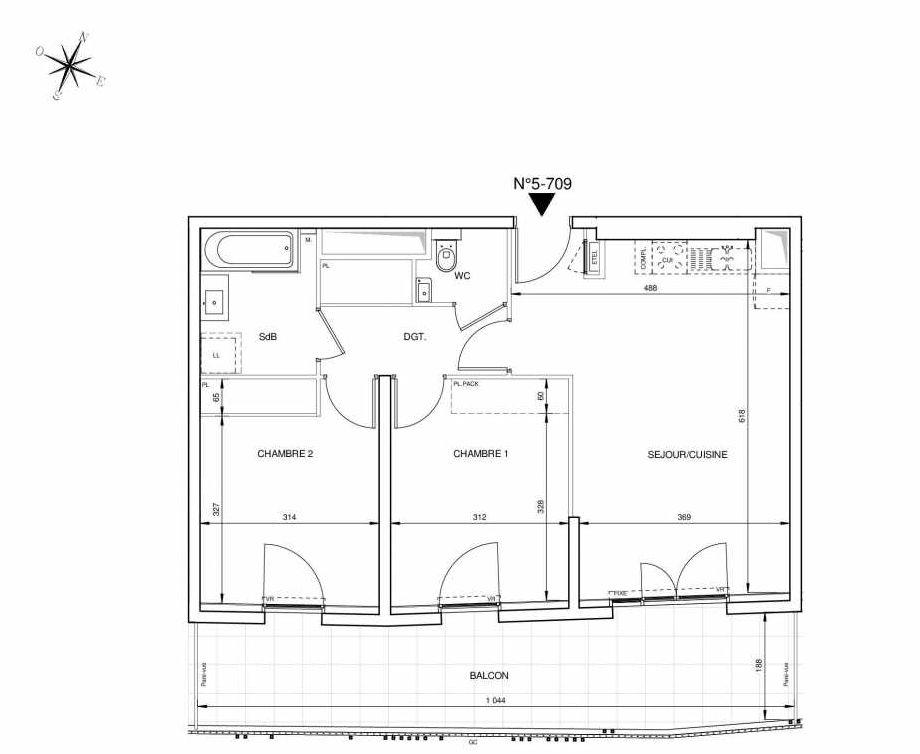 Plan 5709, appartement neuf type T3 au 7ème étage, orienté Sud faisant 63m² du programme neuf 8ème Art à Marseille.