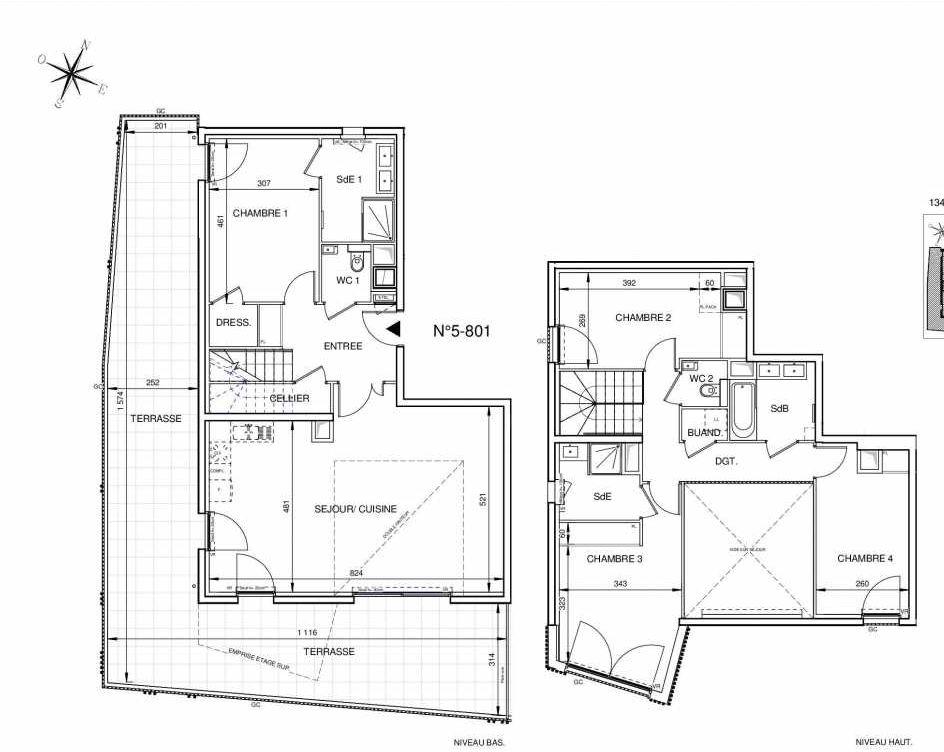 Plan 5801, appartement neuf type T5 au 8ème étage, orienté Sud faisant 135m² du programme neuf 8ème Art à Marseille.
