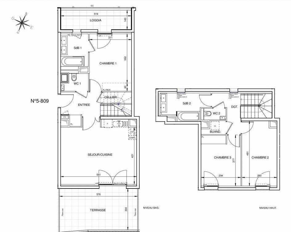 Plan 5809, appartement neuf type T4 au 8ème étage, orienté Sud faisant 90m² du programme neuf 8ème Art à Marseille.