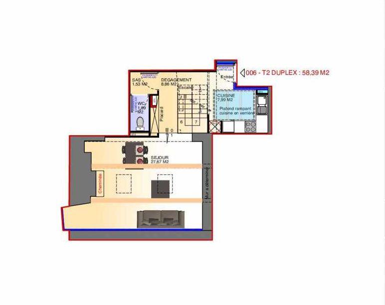 Plan 6, appartement neuf type T2 au 4ème étage, faisant 58m² du programme neuf 11, place République - Maison Fontano à Perpignan.