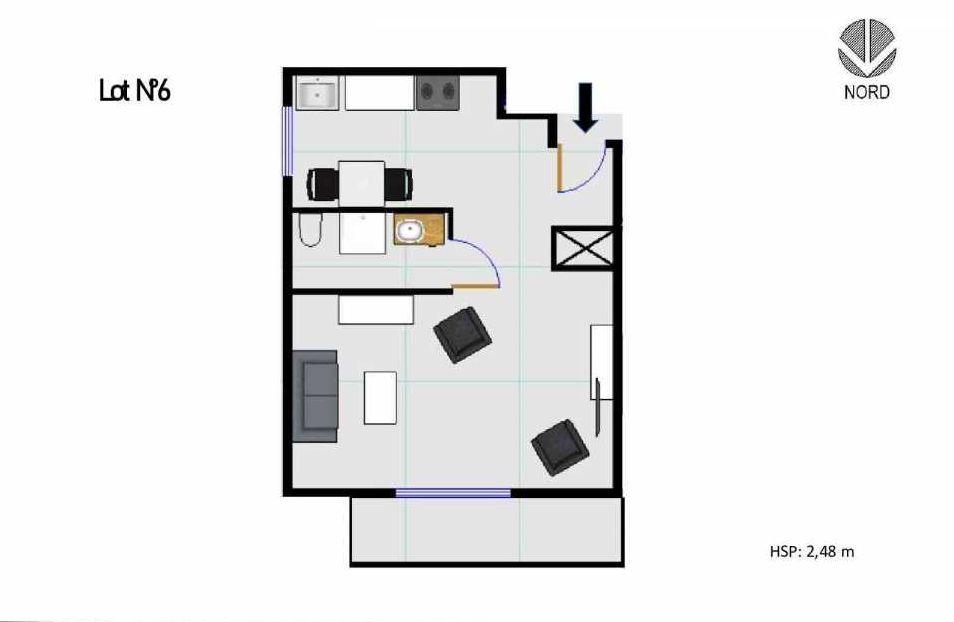 Plan 6, appartement neuf, faisant 27m² du programme neuf 11 Rue Montmajour à Marseille.