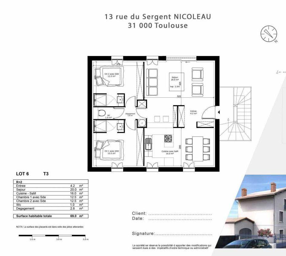 Plan 6, appartement neuf type T3 au 2ème étage, faisant 69m² du programme neuf 13 Rue du Sergent Nicoleau à Toulouse.