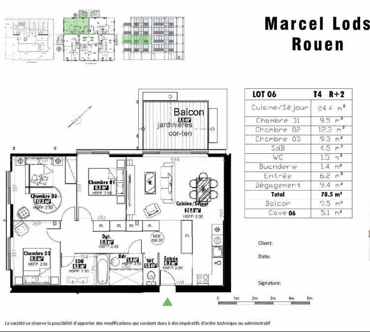 Plan 6, appartement neuf type T4 au 2ème étage, faisant 79m² du programme neuf 15 rue Jean-Philippe Rameau à Rouen.