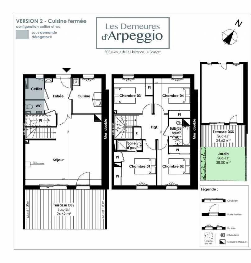 Plan 6, appartement neuf type T5 au Rez de chaussée, orienté Sud faisant 113m² du programme neuf LES DEMEURES D'ARPEGGIO à Le Bouscat.