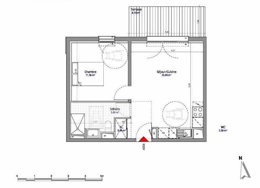 Plan 6, appartement neuf type T2 au Rez de chaussée, orienté Est faisant 42m² du programme neuf SOUTH PARK BAT A NUE PROPRIETE à Amiens.