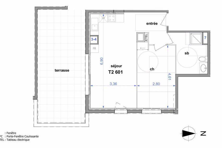 Plan 601, appartement neuf type T2 au 6ème étage, orienté Sud faisant 48m² du programme neuf Au fil de l'O1 à Maromme.