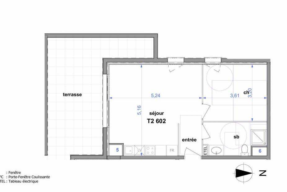 Plan 602, appartement neuf type T2 au 6ème étage, orienté Sud faisant 44m² du programme neuf Au fil de l'O1 à Maromme.