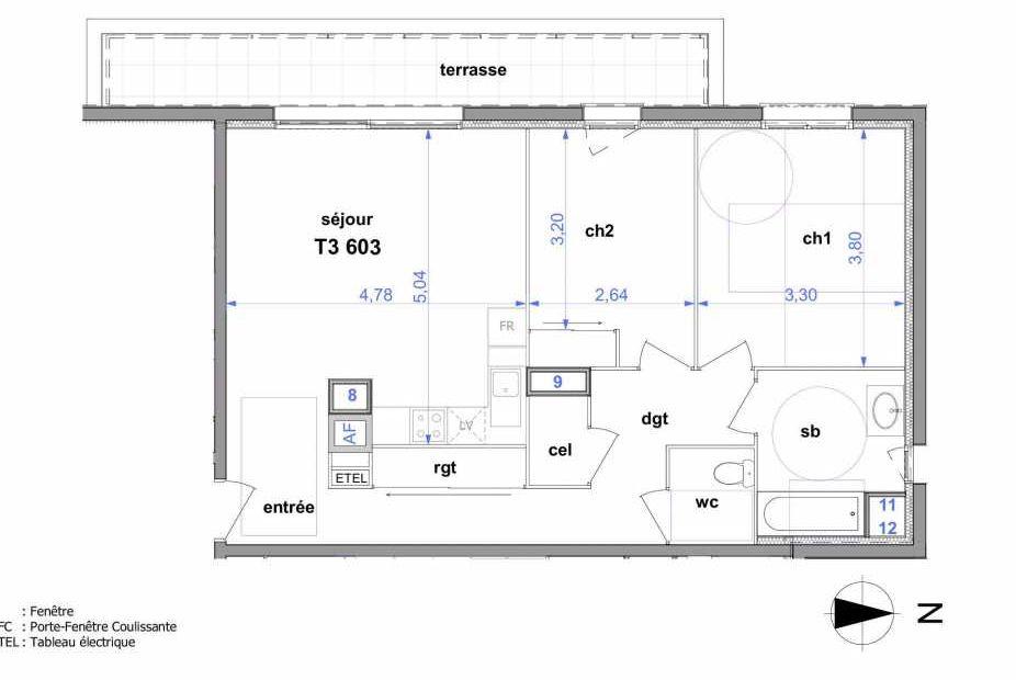 Plan 603, appartement neuf type T3 au 6ème étage, orienté Ouest faisant 68m² du programme neuf Au fil de l'O1 à Maromme.