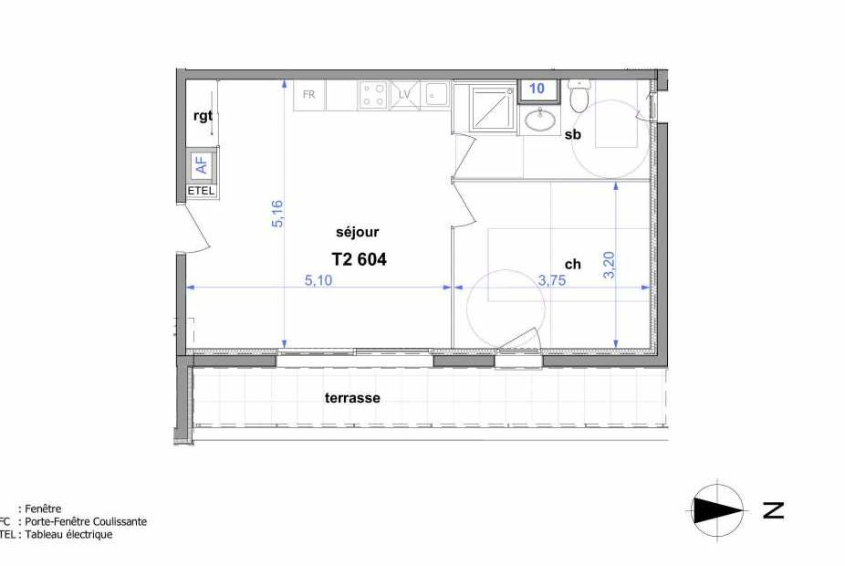 Plan 604, appartement neuf type T2 au 6ème étage, orienté Est faisant 44m² du programme neuf Au fil de l'O1 à Maromme.