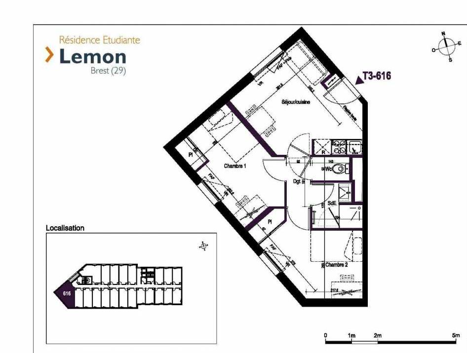 Plan 616, appartement neuf type T3 au 6ème étage, faisant 42m² du programme neuf Lemon à Brest.