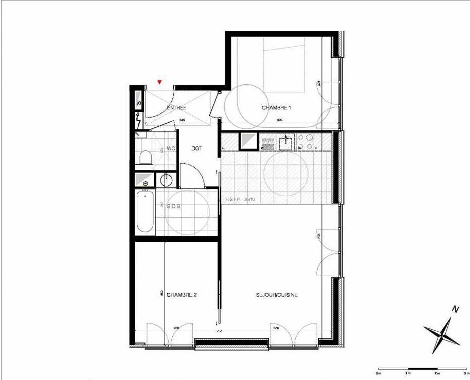 Plan 62, appartement neuf type T3 au 6ème étage, orienté Est faisant 62m² du programme neuf CUBIK - PARIS 13 à Paris.