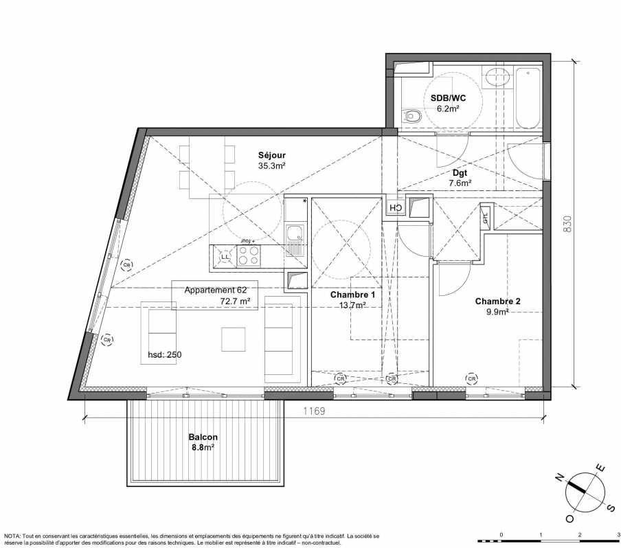 Plan 62, appartement neuf type T3 au 3ème étage, orienté Ouest faisant 73m² du programme neuf Patio du Lac à Monteux.
