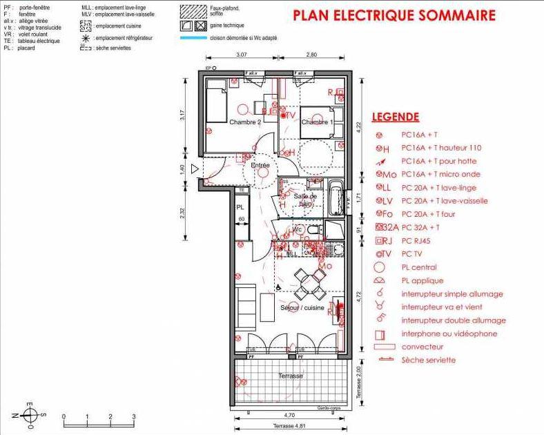 Plan 6201, appartement neuf type T3 au 2ème étage, orienté Est faisant 59m² du programme neuf LIGNE BLEUE BATS C-D-E-F à Marseille.