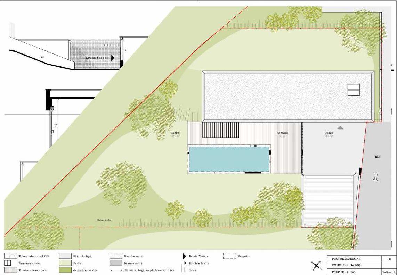 Plan 66, appartement neuf type T4 au 1er étage, orienté Sud faisant 139m² du programme neuf Les Côteaux de Belpech à Beaupuy.
