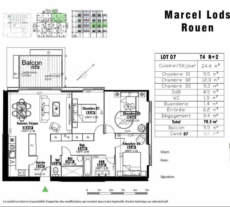Plan 7, appartement neuf type T4 au 2ème étage, faisant 79m² du programme neuf 15 rue Jean-Philippe Rameau à Rouen.