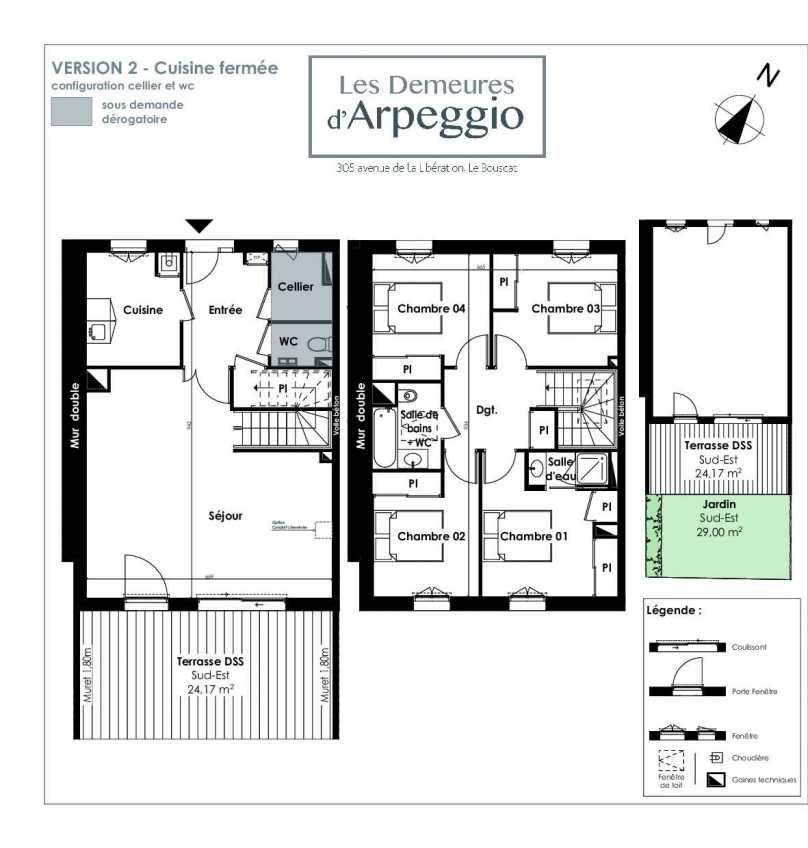 Plan 7, appartement neuf type T5 au Rez de chaussée, orienté Sud faisant 112m² du programme neuf LES DEMEURES D'ARPEGGIO à Le Bouscat.