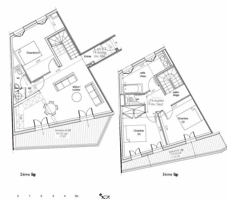 Plan 7, appartement neuf type T4 au 2ème étage, faisant 85m² du programme neuf LES HAUTS DE MIRABEAU à Aix-en-Provence.