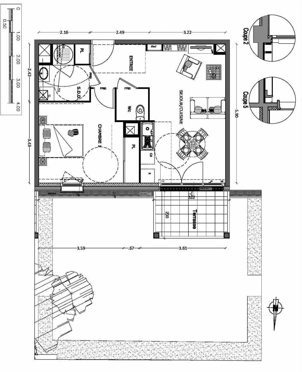 Plan 7, appartement neuf type T2 au Rez de chaussée, orienté Nord faisant 45m² du programme neuf NOUVELLE VAGUE BATIMENT B - ACCESS 37 LOTS à Benerville-sur-Mer.