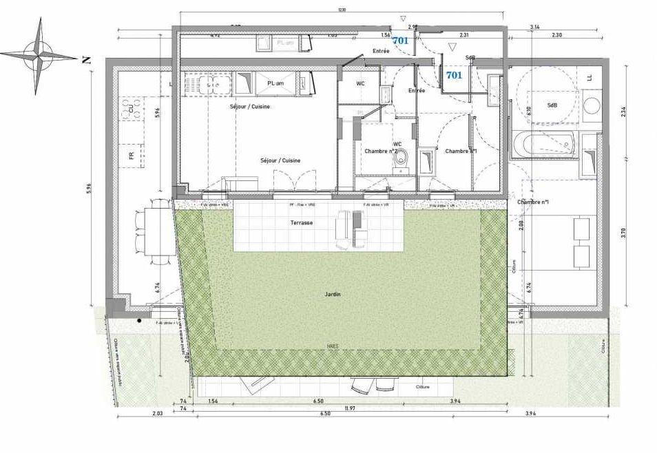 Plan 701, appartement neuf type T3 au Rez de chaussée, orienté Est faisant 70m² du programme neuf 1887 - TENOR BAT A à Dijon.