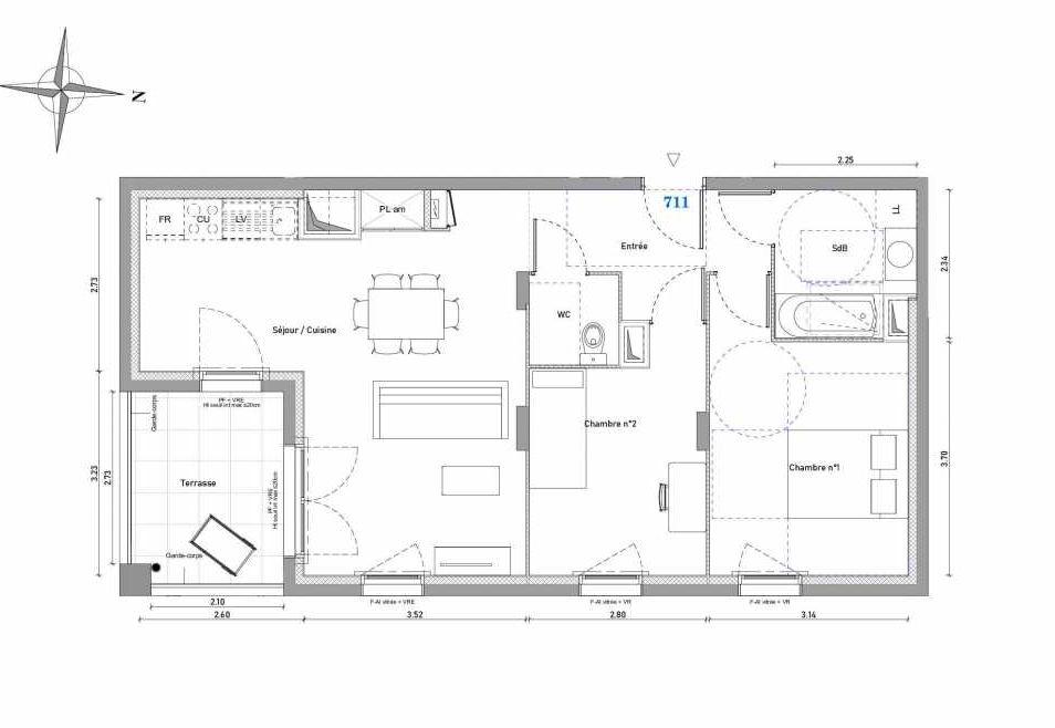 Plan 725, appartement neuf type T2 au 2ème étage, orienté Est faisant 45m² du programme neuf 1887 - TENOR BAT A à Dijon.
