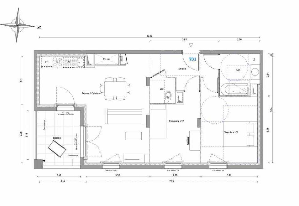 Plan 731, appartement neuf type T3 au 3ème étage, orienté Sud faisant 63m² du programme neuf 1887 - TENOR BAT A à Dijon.