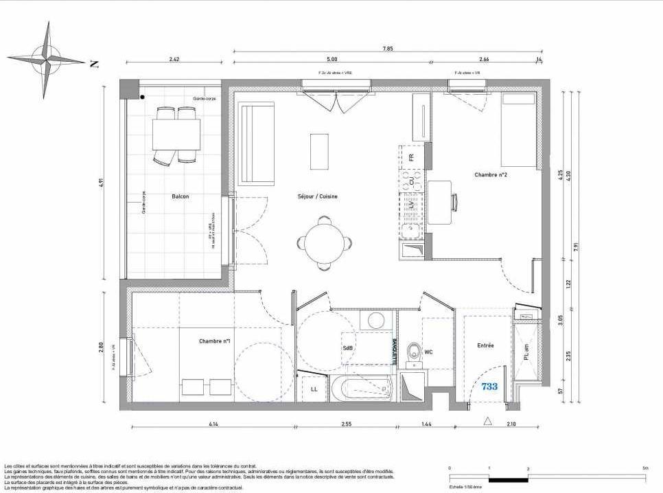Plan 733, appartement neuf type T3 au 3ème étage, orienté Sud faisant 66m² du programme neuf 1887 - TENOR BAT A à Dijon.