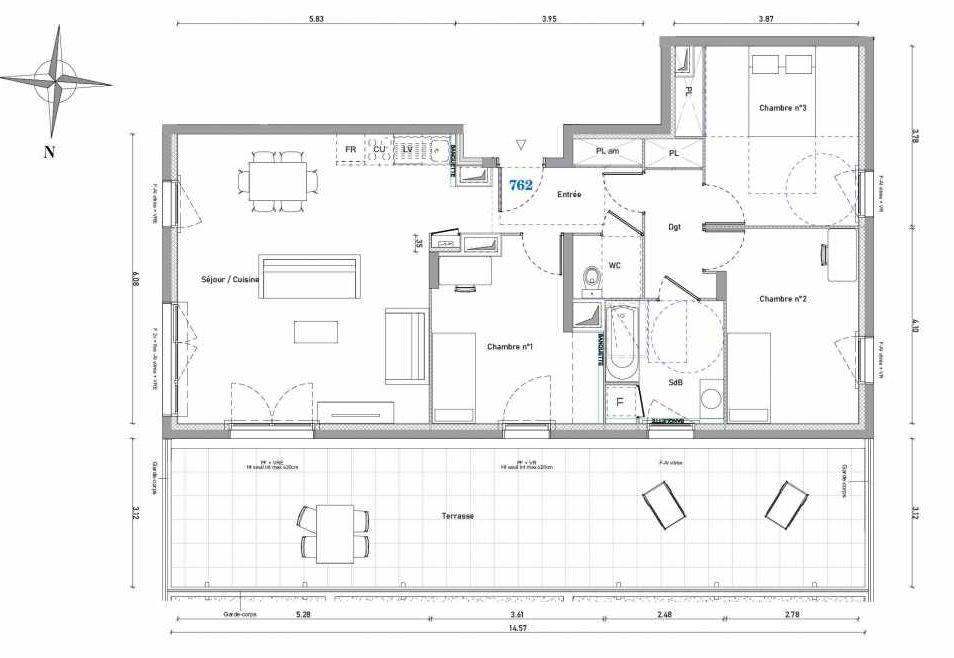 Plan 762, appartement neuf type T4 au 6ème étage, orienté Nord faisant 88m² du programme neuf 1887 - TENOR BAT A à Dijon.