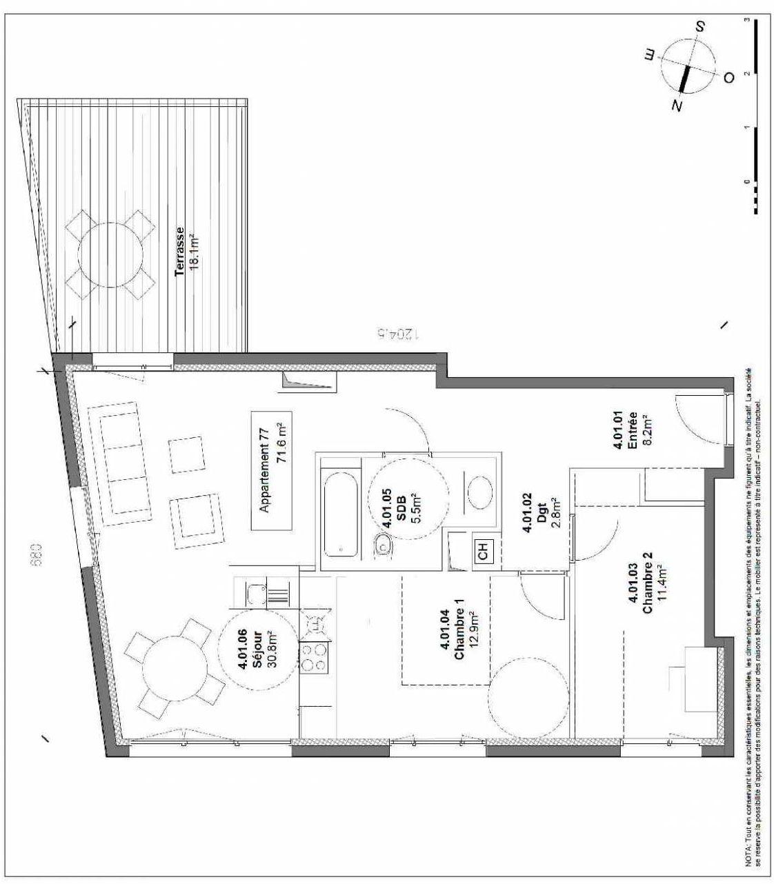 Plan 77, appartement neuf type T3 au 4ème étage, orienté Sud faisant 72m² du programme neuf Patio du Lac à Monteux.