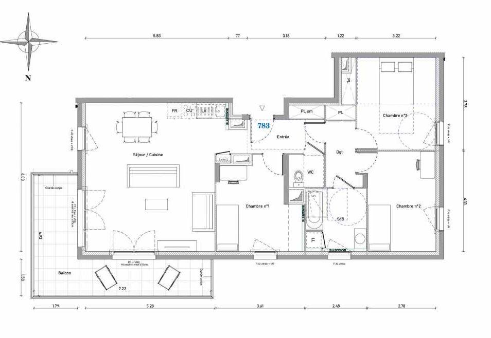 Plan 783, appartement neuf type T4 au 8ème étage, orienté Nord faisant 88m² du programme neuf 1887 - TENOR BAT A à Dijon.