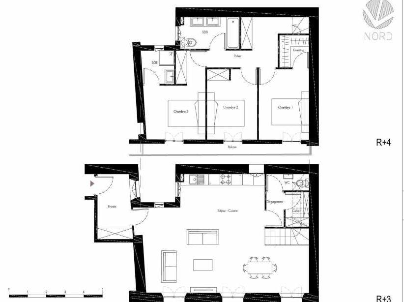 Plan 8, appartement neuf, faisant 105m² du programme neuf 1 Rue Grignan à Marseille.