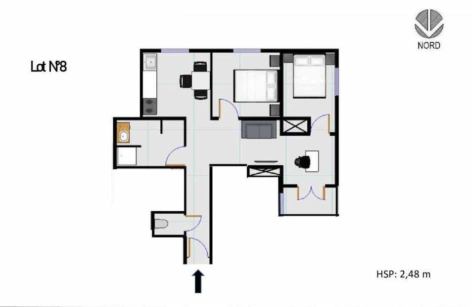 Plan 8, appartement neuf, faisant 50m² du programme neuf 11 Rue Montmajour à Marseille.
