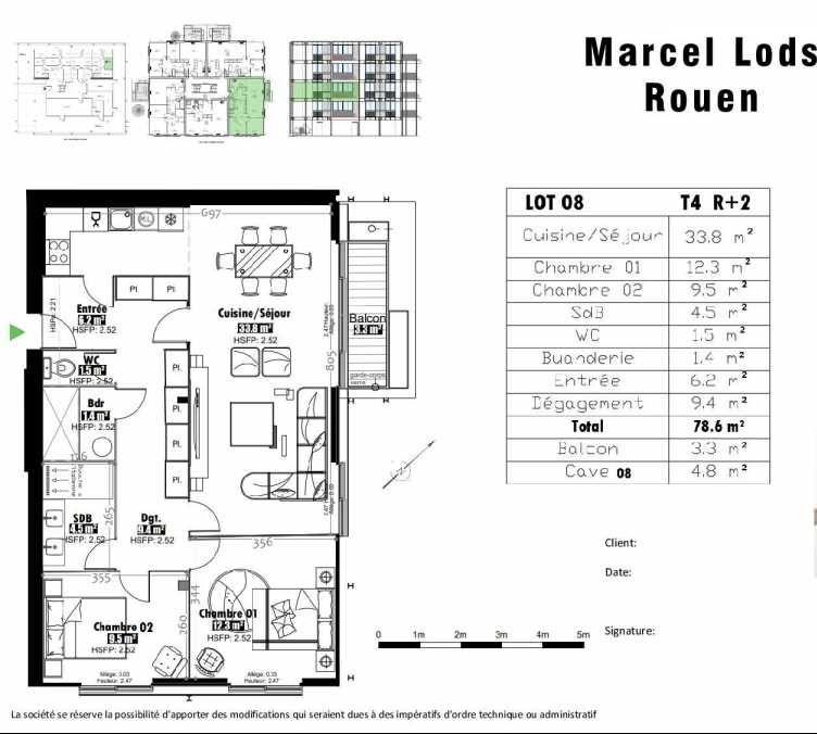 Plan 8, appartement neuf type T4 au 2ème étage, faisant 79m² du programme neuf 15 rue Jean-Philippe Rameau à Rouen.