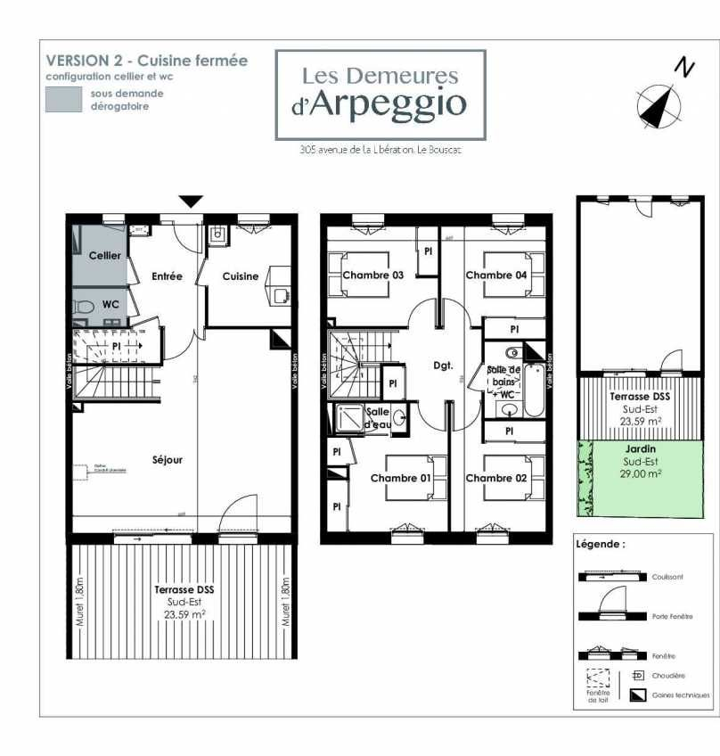 Plan 8, appartement neuf type T5 au Rez de chaussée, orienté Sud faisant 112m² du programme neuf LES DEMEURES D'ARPEGGIO à Le Bouscat.
